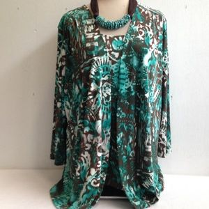 Chico's Flowy Print 2 Pc  Cardigan Jacket & Tank
